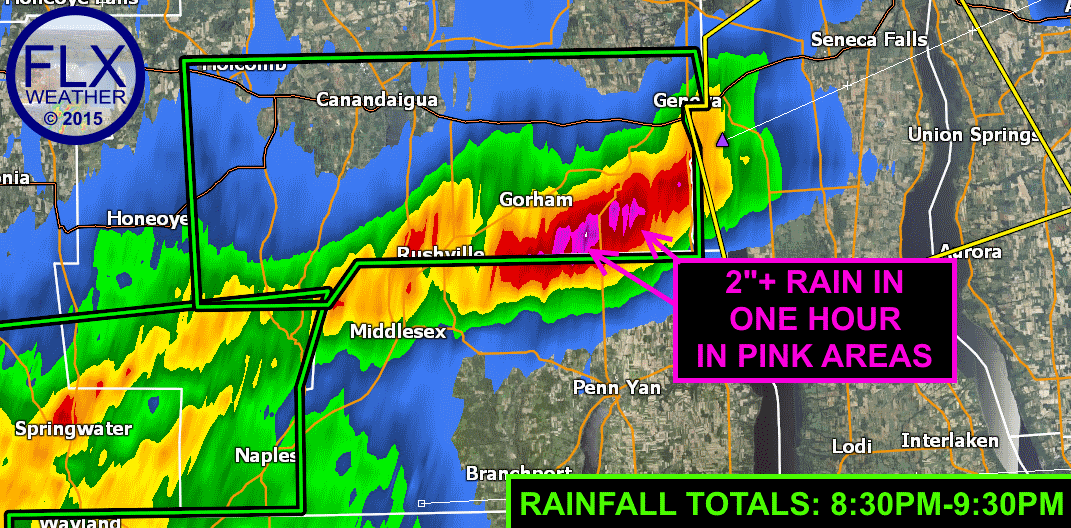 "9:30pm one-hour rain estimates are over 2"" south of Geneva."