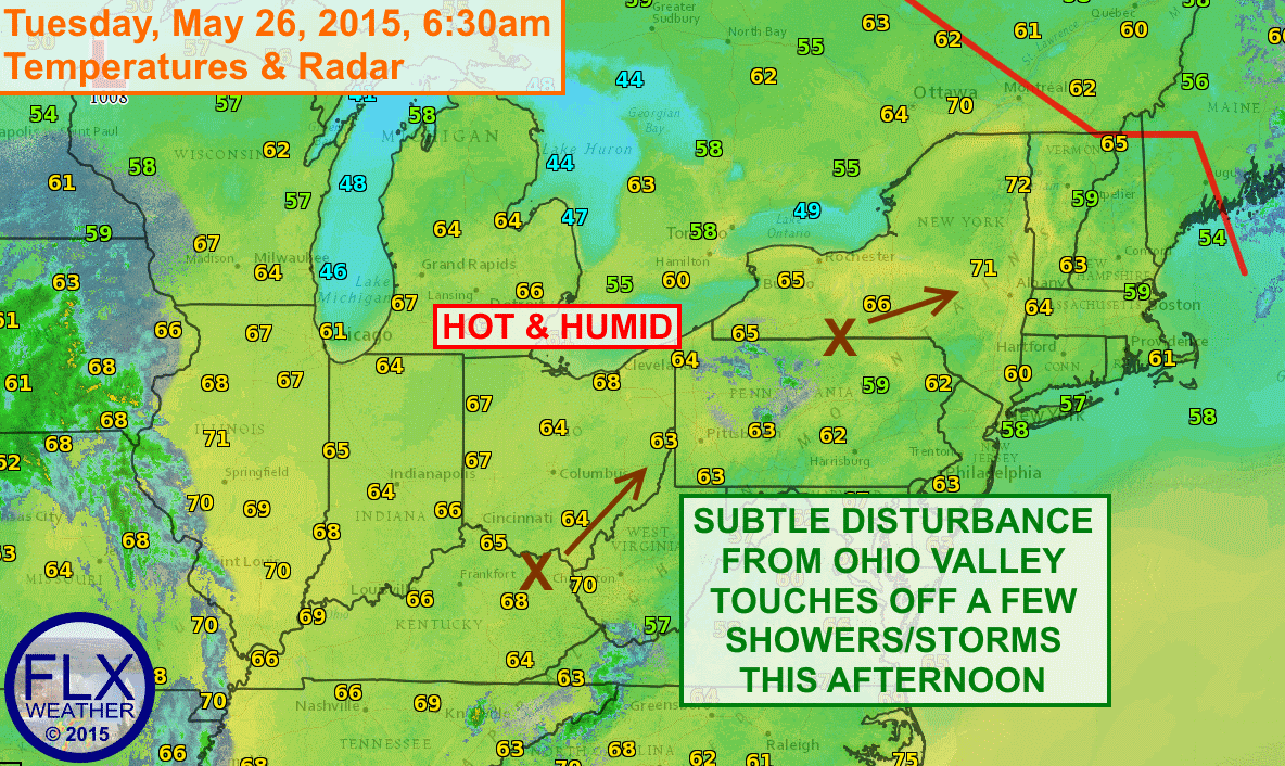 A small disturbance will interact with a hot and humid afternoon to touch off a few showers and maybe a thunderstorm this afternoon, especially across the southern and eastern Finger Lakes