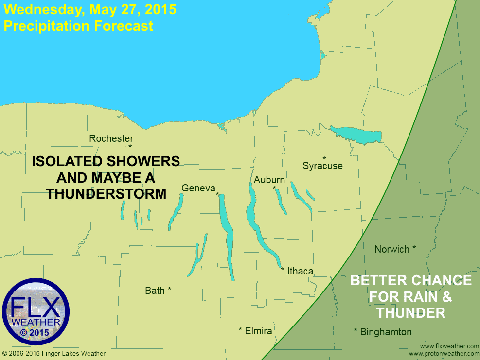 A disturbance in the upper levels of the atmosphere will trigger some showers and thunderstorms this afternoon, mostly east of the Finger Lakes.