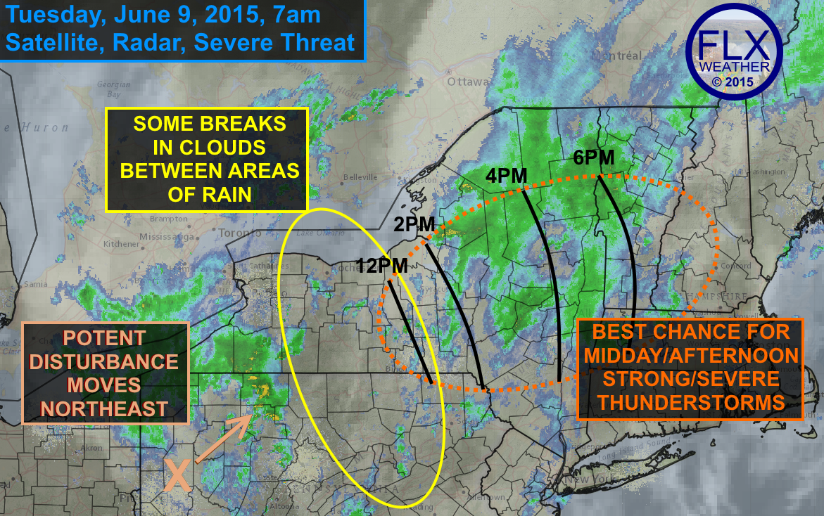 A combination of some breaks in the clouds this morning, a potent disturbance tracking northeast and ample wind energy in the atmosphere aloft could help some strong thunderstorms to form around midday, mostly over the eastern FLX and CNY before heading east.
