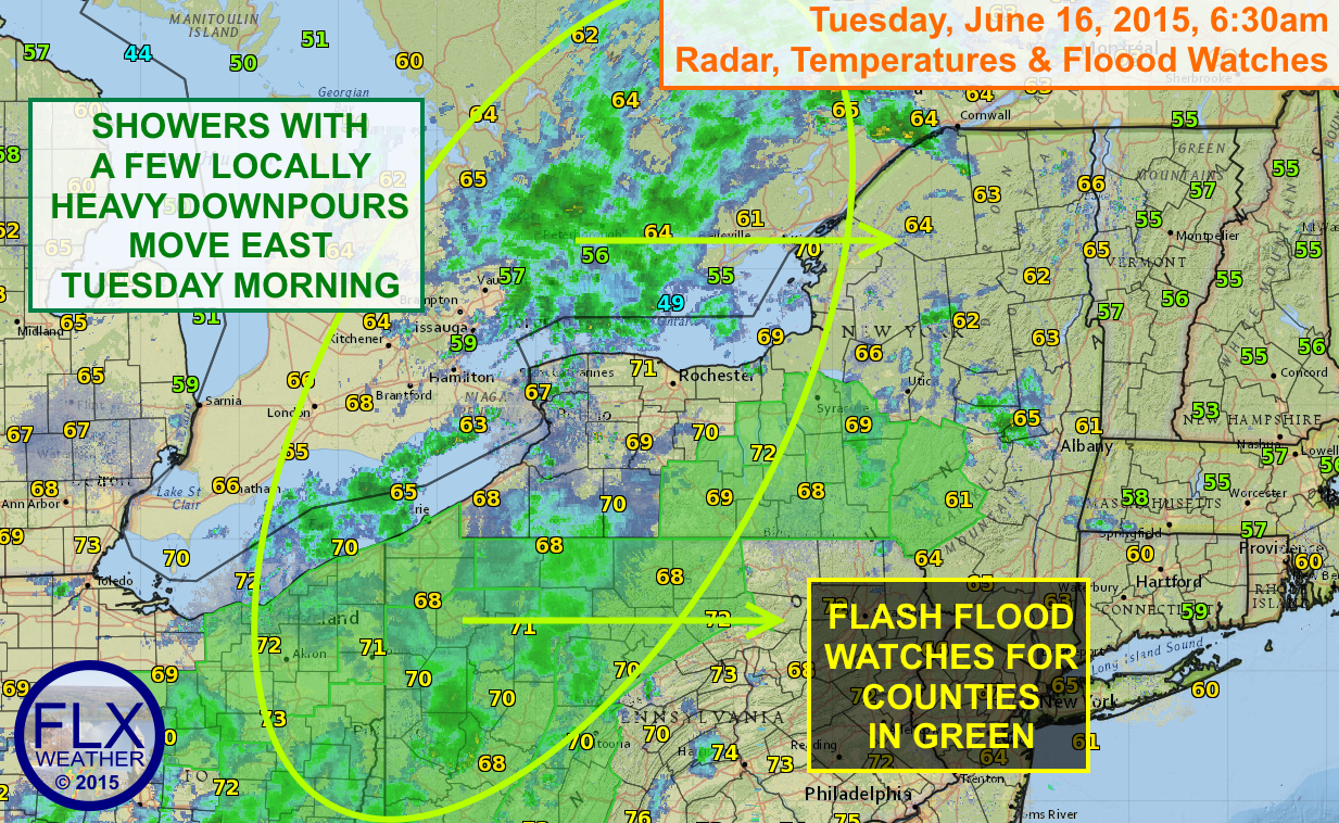 An area of rain will cross the Finger Lakes Tuesday morning. Most of the rain will be light, but a few heavier downpours are possible. Flash Flood Watches remain in effect for some areas.
