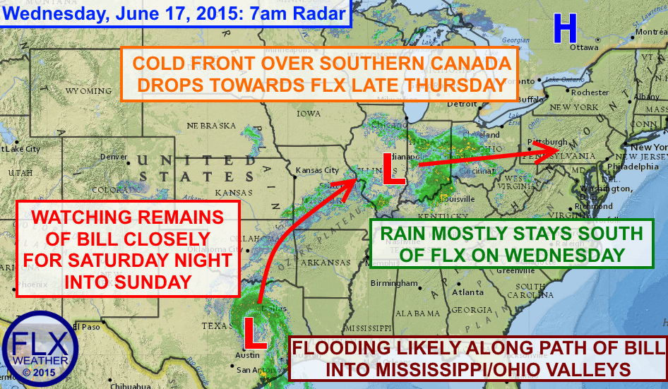 A complex weather pattern is evolving across the eastern US that could bring flooding and strong thunderstorms to some areas into the weekend.