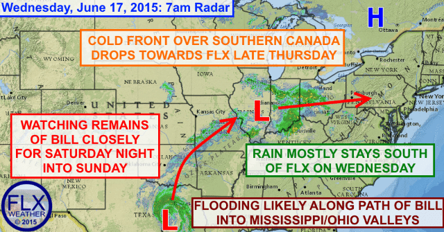 Complex weather pattern over eastern US remainder of the week