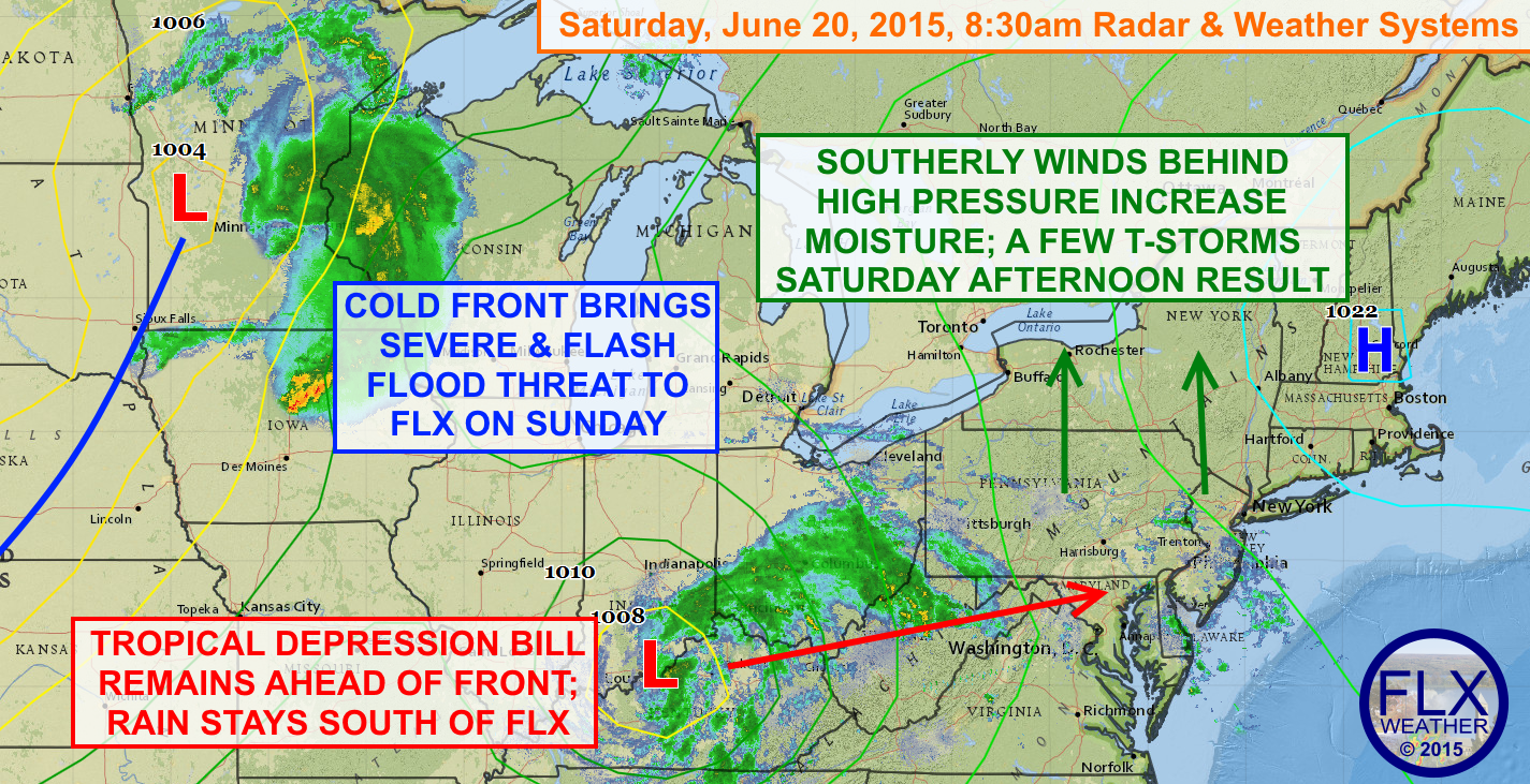 Tropical Depression Bill will not bring rain to the Finger Lakes, but strong to severe thunderstorms may still produce areas of damage and flooding on Sunday.