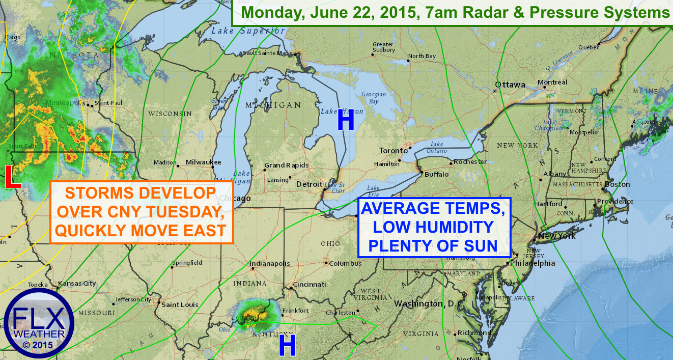 High pressure will bring a very nice day to the Finger Lakes on Monday. A few storms are possible Tuesday afternoon.