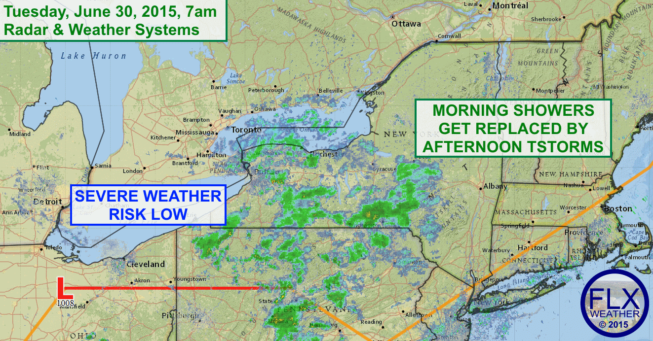 Showers this morning will give way to thunderstorms this afternoon. Severe weather is not a large concern today.