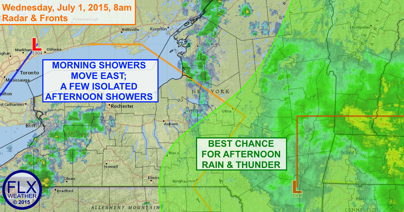 Low pressure will drag a cold front through the Finger Lakes today with some showers and maybe a thunderstorm. Nicer weather should build in behind this front.