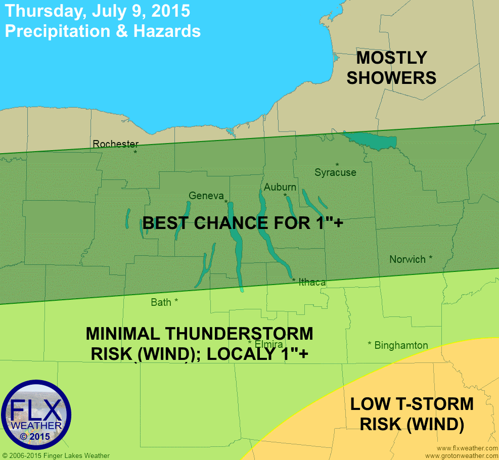 Rain is likely across the Finger Lakes this afternoon and evening. Some of the rain will be heavy, with some thunderstorms possible across the Southern Tier.