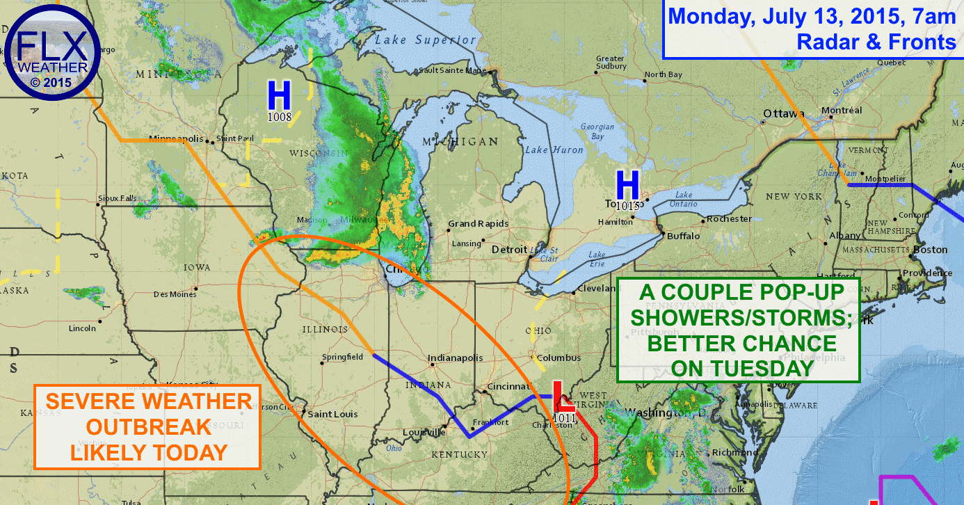 While one or two showers or thunderstorms may try to pop-up this afternoon, most of Monday should be dry for the Finger Lakes as high pressure holds on for another day.