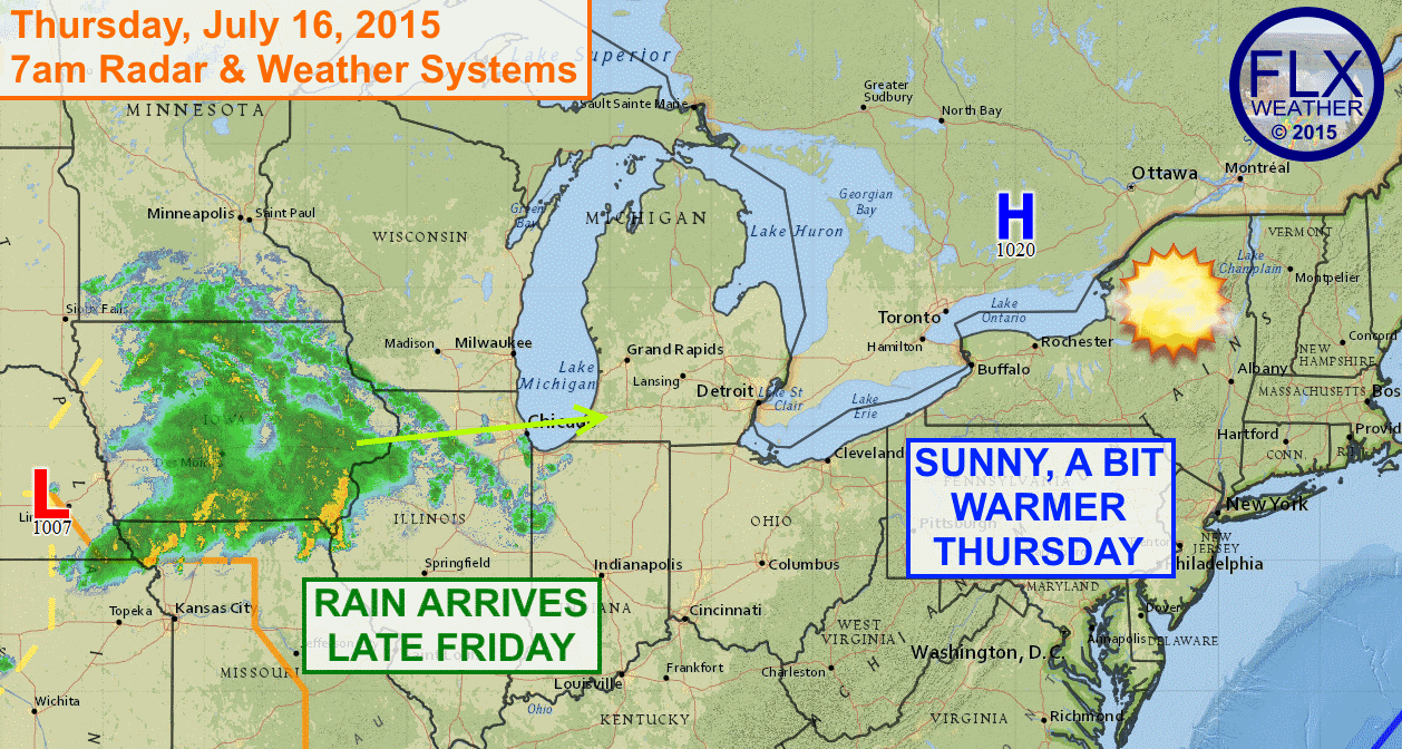 High pressure will bring sunny skies and temperatures in the low 70s to the Finger Lakes on Thursday. More active weather moves in by late Friday.