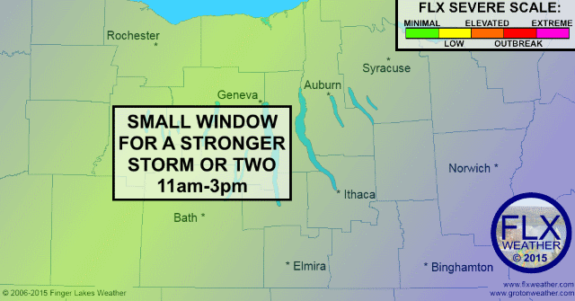 Small window for strong midday storm in Finger Lakes