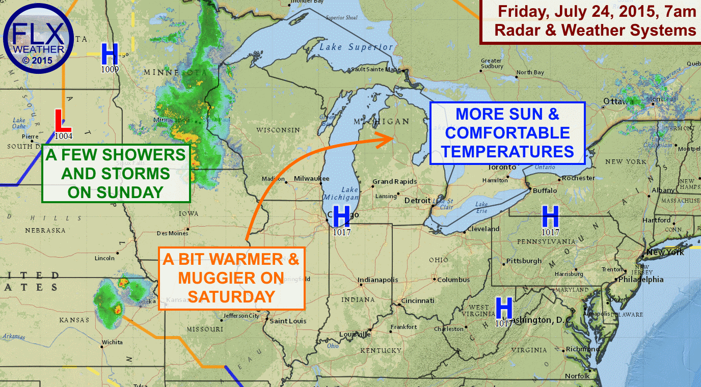 High pressure will bring the Finger Lakes a couple of more dry, sunny days Friday and Saturday. A few showers and storms enter the picture Saturday evening into Sunday.