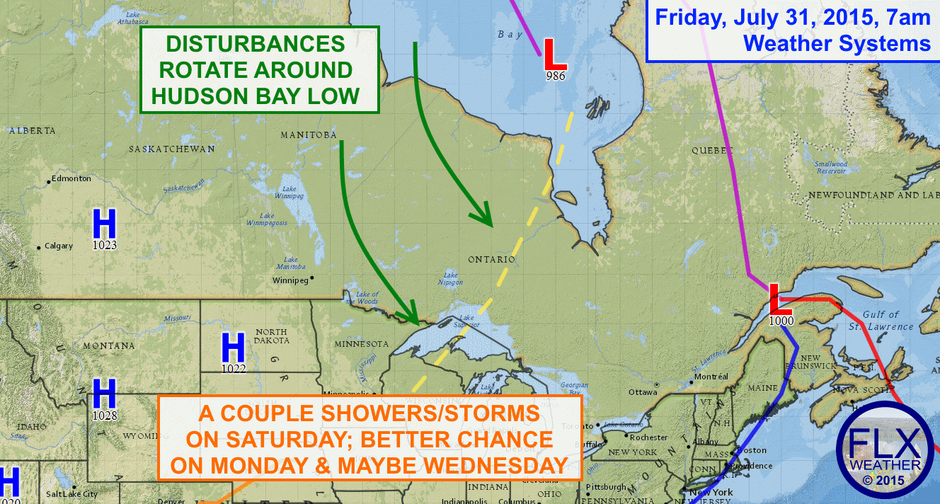 A stalled out low over the Hudson Bay in Canada will be responsible for a number of disturbances that track towards the Finger Lakes through the middle of next week.