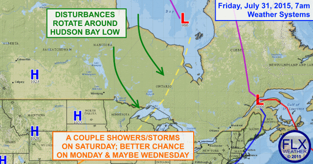 Low over Hudson Bay sends disturbances spinning towards Finger Lakes