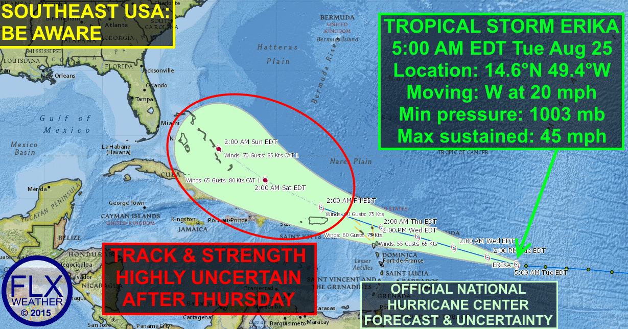 Tropical Storm Erika formed last night and could possibly make its way towards the United States next week.