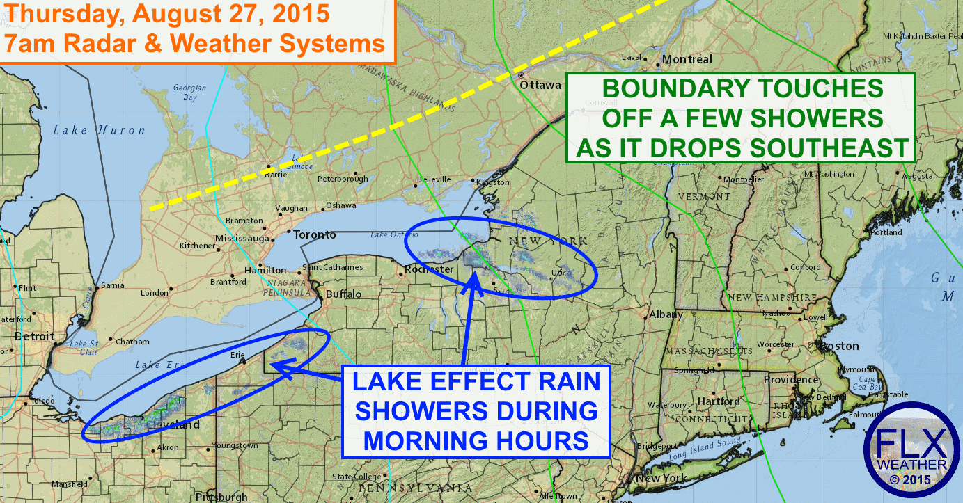 Showers, both lake effect and from a small disturbance, will move through the FLX and CNY on Thursday, but nicer weather will settle in for Friday and Saturday.