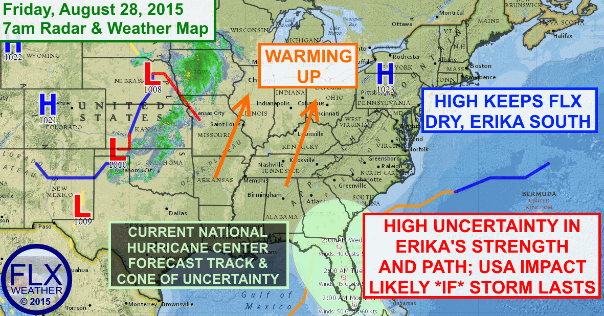 High pressure will keep the Finger Lakes nice this weekend with warming temperatures. Where might Erika go though?