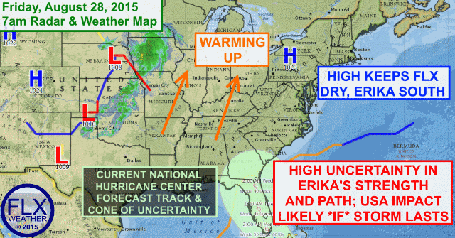FLX warming up for nice weekend; Friday morning Erika Update