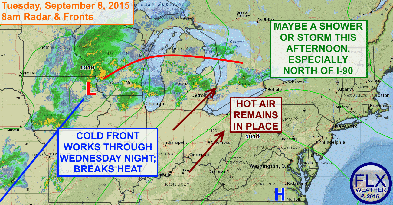 The late season heat wave that has been baking the Finger Lakes will finally break Wednesday evening thanks to a cold front.