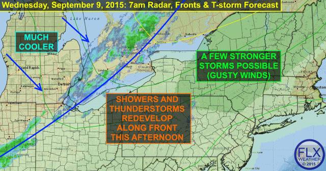 Front breaks heat with a few stronger thunderstorms