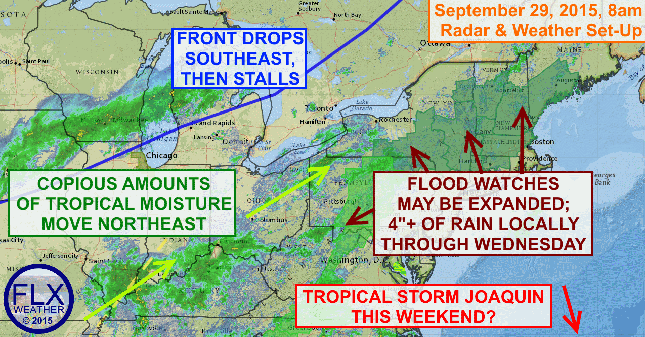 Excessive tropical moisture and a stalled out cold front will combine to bring heavy rain and possibly flooding to parts of Upstate New York, Pennsylvania and New England through Wednesday.