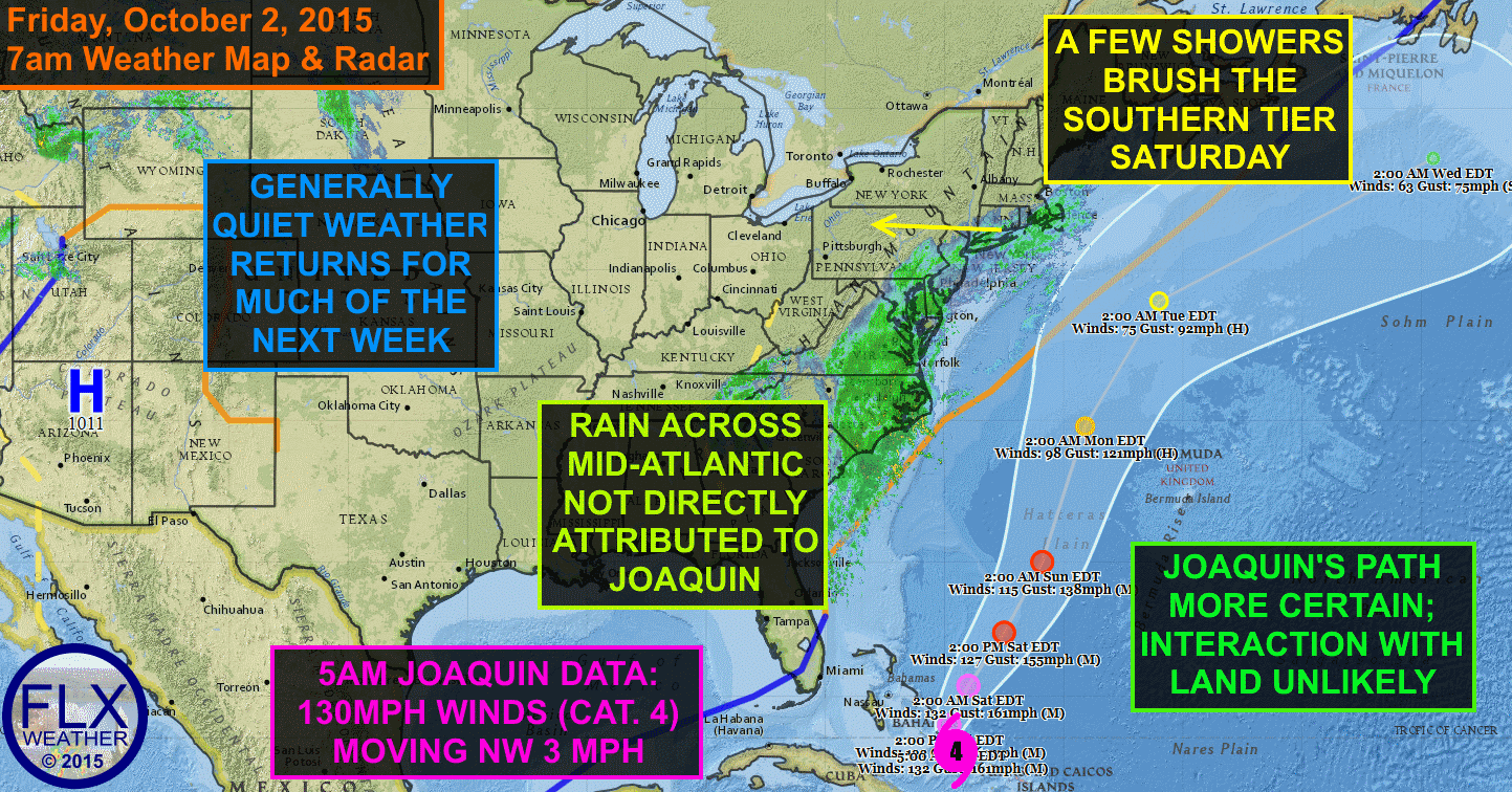 Confidence continues to grow that Joaquin will remain at sea, passing between the US Mainland and Bermuda.