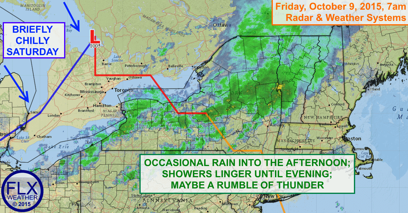 A quick moving storm system will bring rain to the Finger Lakes on Friday, but will clear out in time for a nice weekend.