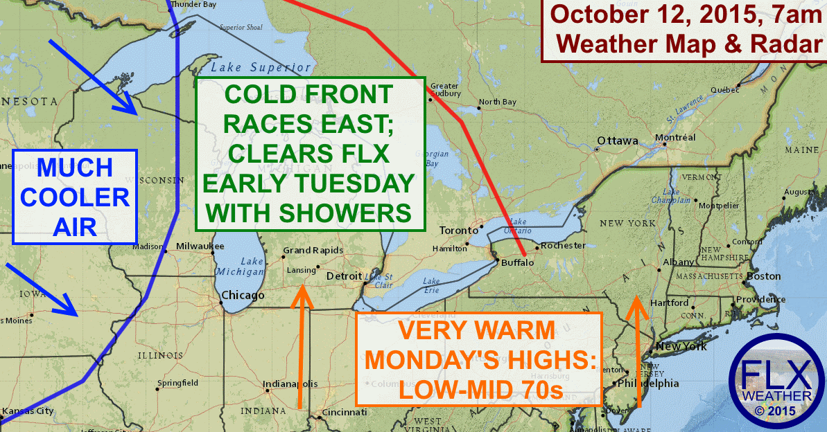 The Finger Lakes will enjoy a very mild and sunny Columbus Day, but the rest of the week looks cooler and unsettled.