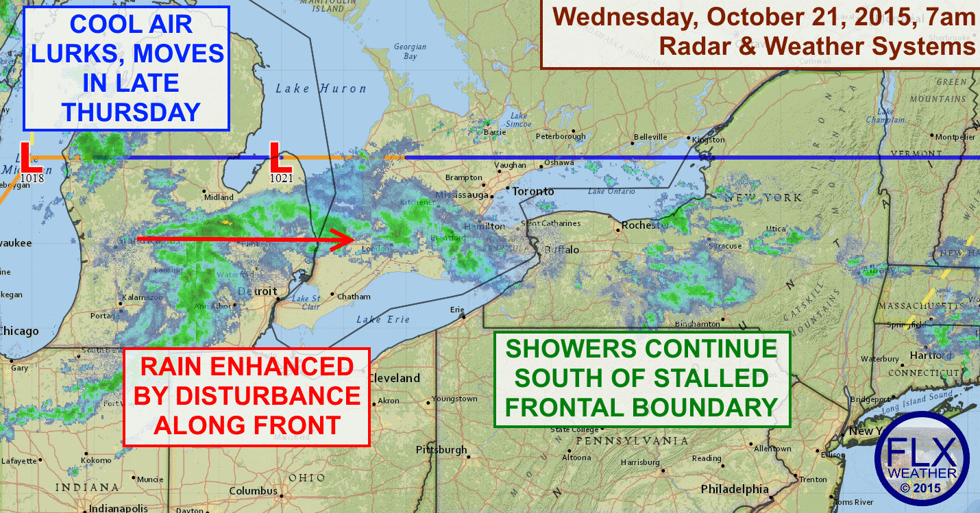 The Finger Lakes continues to reside on the warm and wet south side of a stalled out frontal boundary. More on-and-off showers are expected throughout Wednesday.