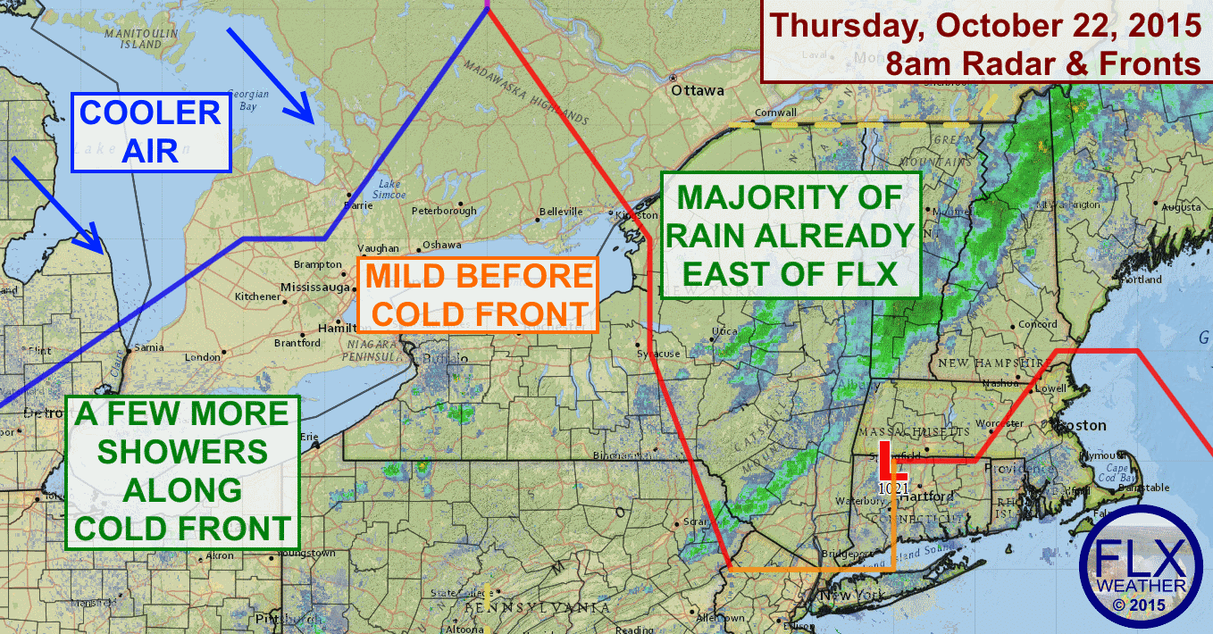 A cold front will move through the Finger Lakes Thursday afternoon with a shower or two. Temperatures will rise into the 60s before it arrives.