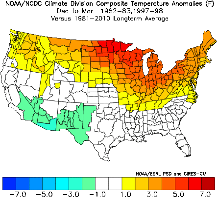 The El Ninos of 1982 and 1997 produced very mild winters along the northern parts of the United Stats, including in the Finger Lakes.