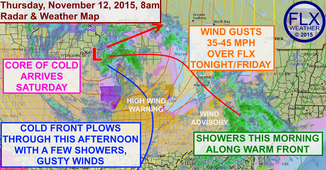 A strong storm centered over Wisconsin will bring rain and gusty winds to the Finger Lakes over the next couple of days,