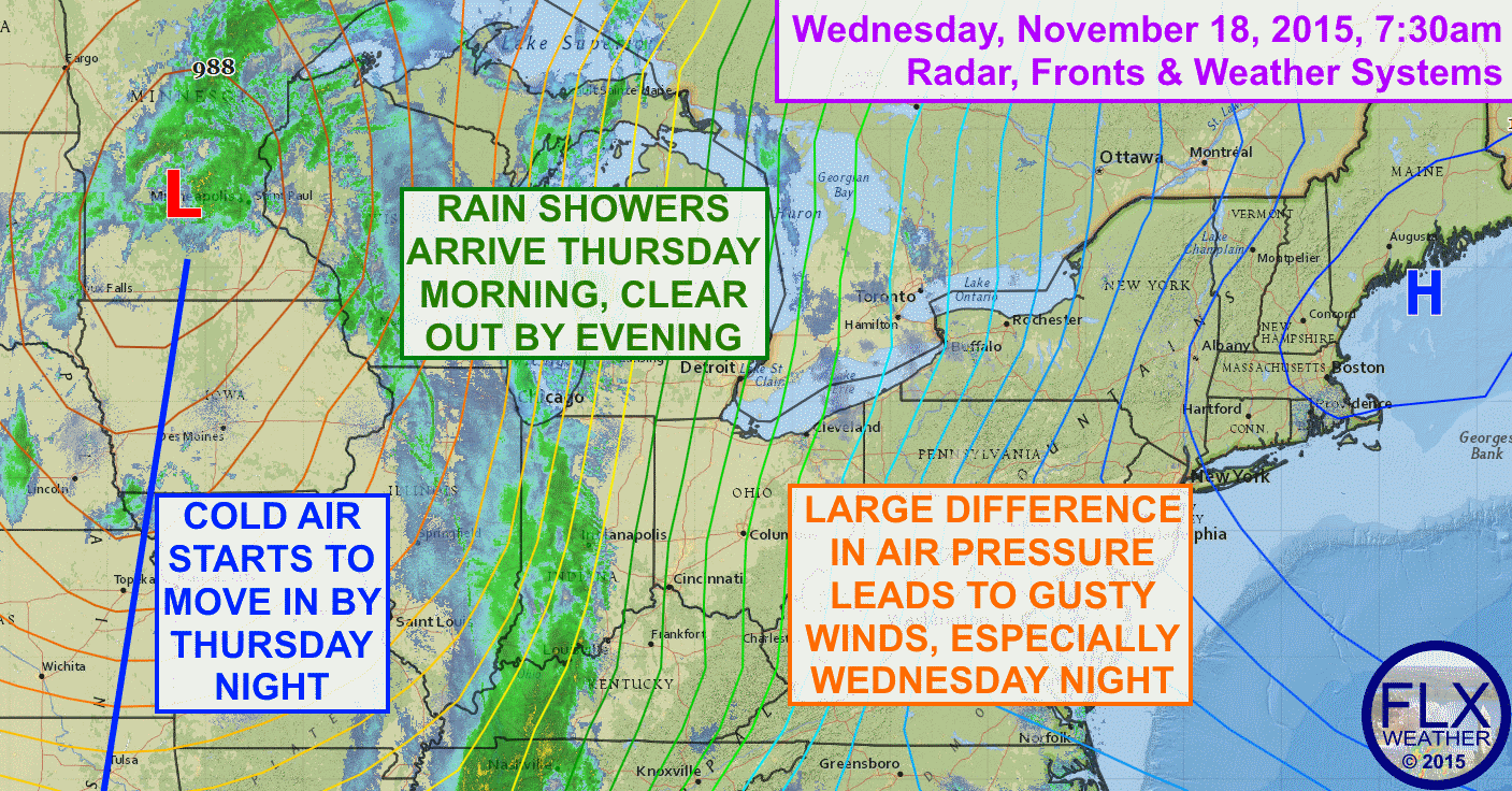 A large difference between high pressure to the east and low pressure to the west will lead to windy conditions across the Finger Lakes.