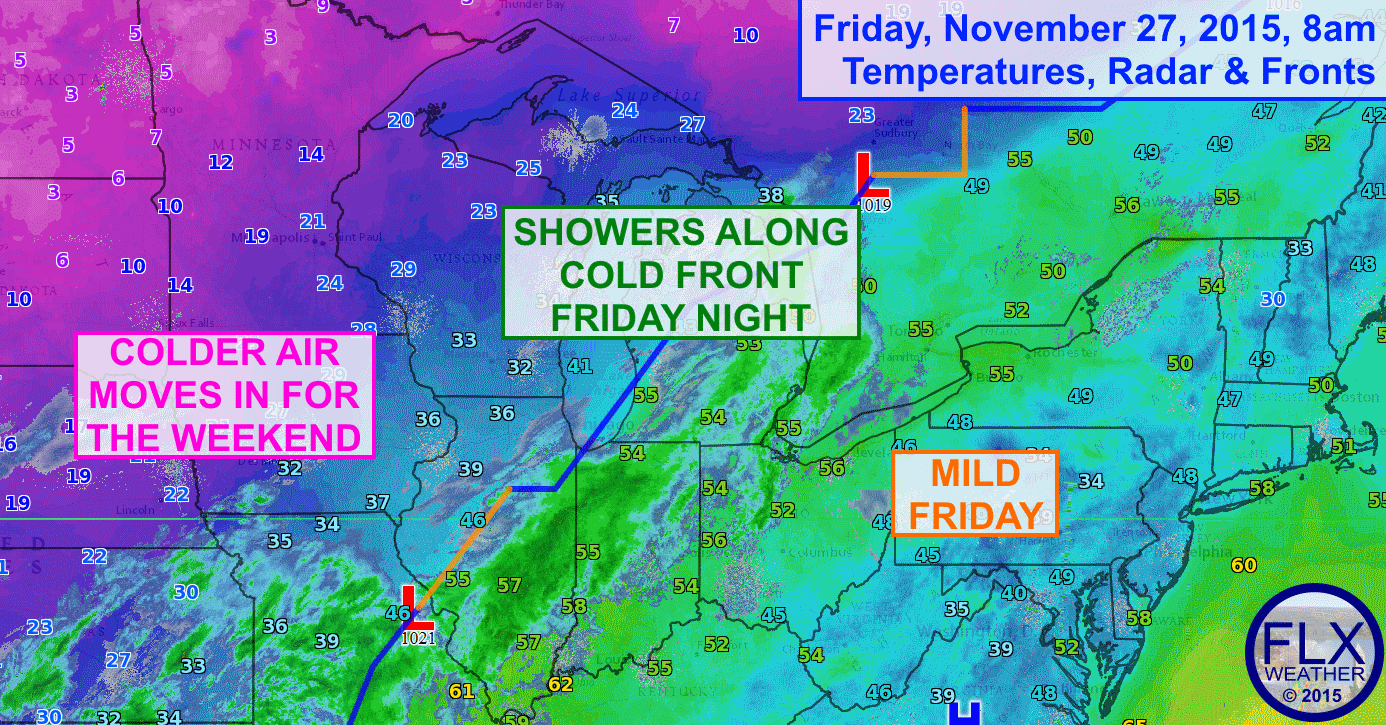 A cold front will cross the Finger Lakes Friday night, resulting in highs on Saturday & Sunday that are 20-25 degrees colder than Friday.