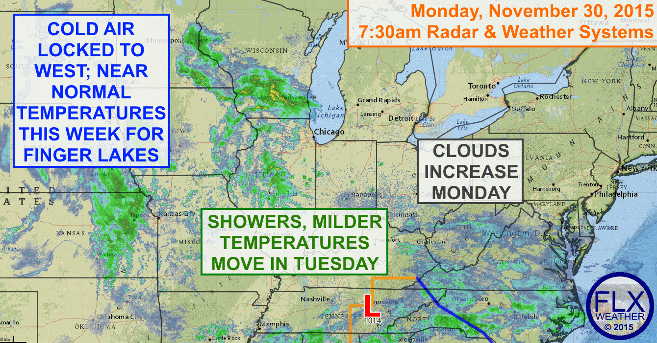 Unsettled weather will move into the Finger Lakes from the southwest with rain showers possible as early as dawn Tuesday.