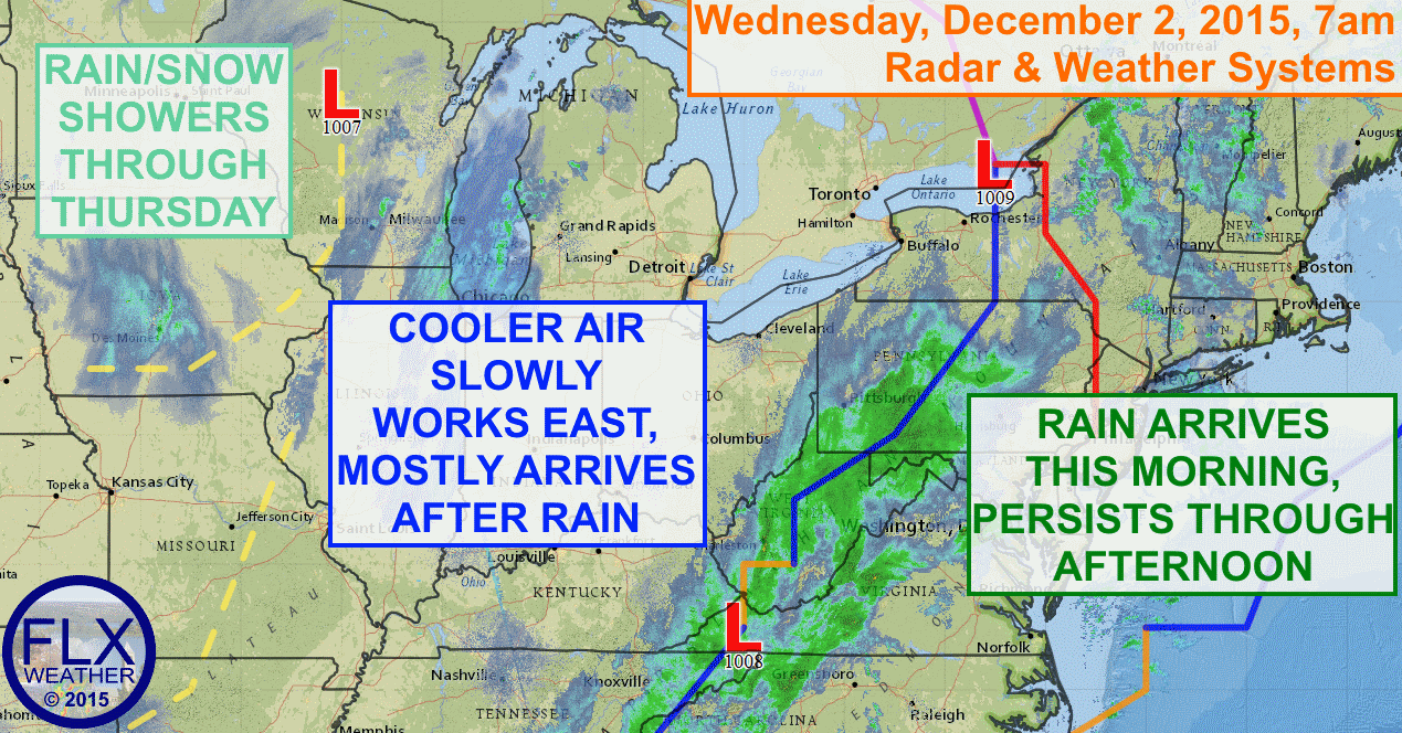 Low pressure moving along a cold front will spread steady rain into the Finger Lakes by late morning.