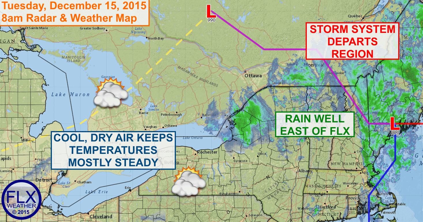 Cooler temperatures, which will still be 10-15 degrees above normal, are moving into the FLX.