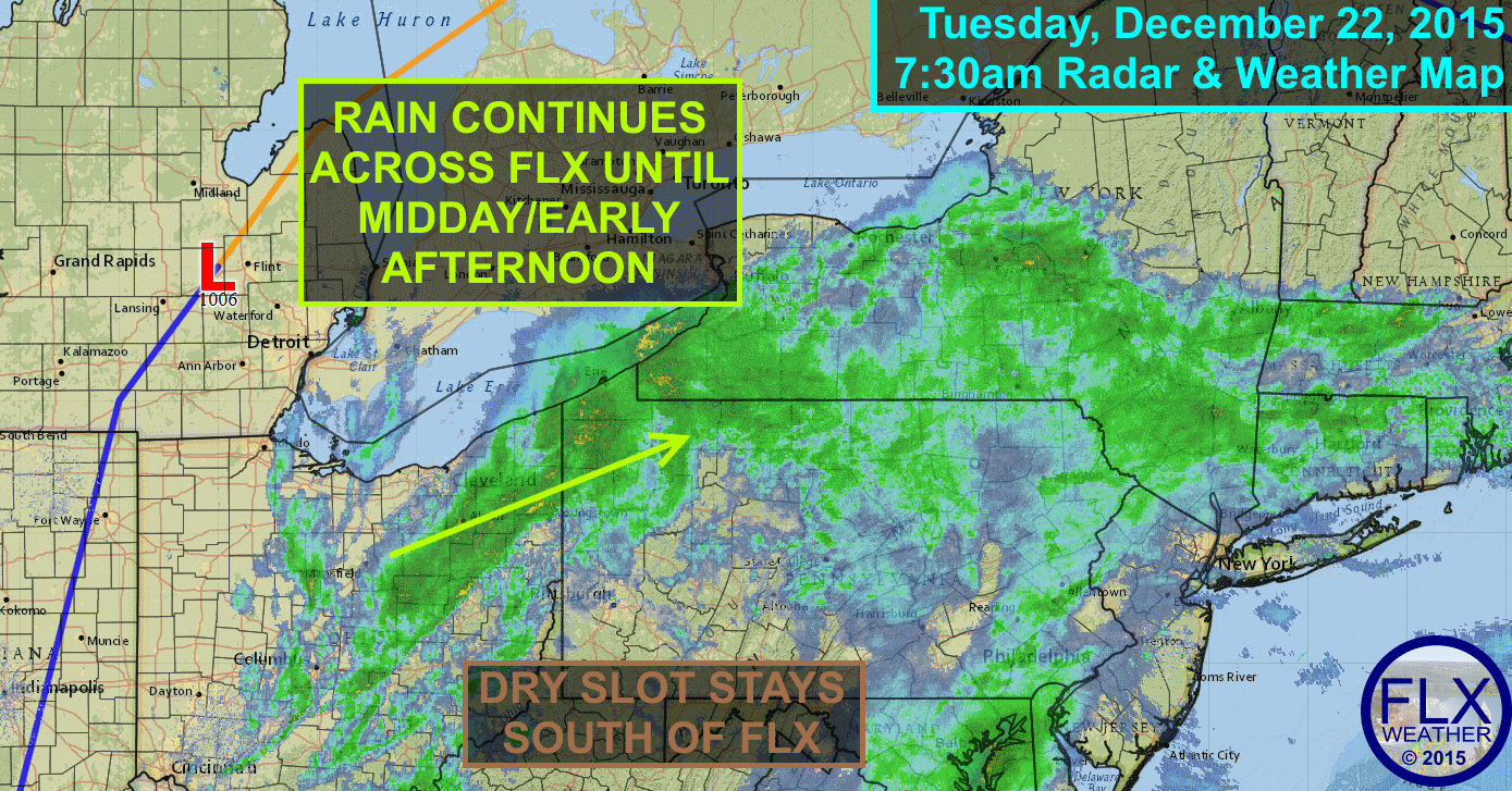 Rain will persist through Tuesday morning across the Finger Lakes, with more showers likely Wednesday afternoon.