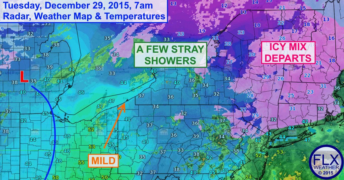 Icy precipitation has come to an end across the Finger Lakes as warmer and dryer air works into the region.