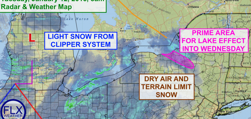 Clipper Tuesday followed by more lake effect snow