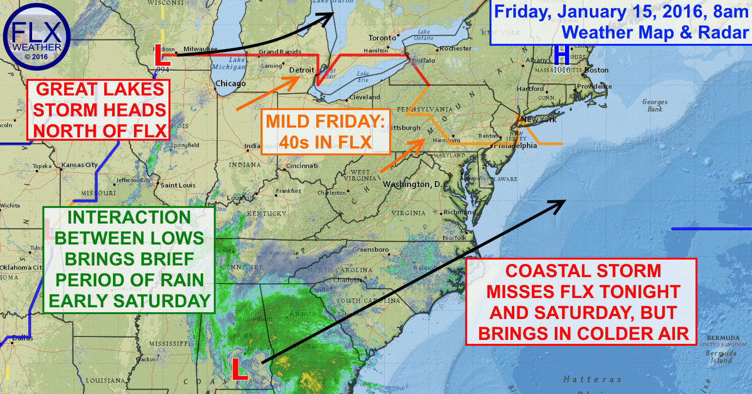 A complex weather pattern over the northeastern United States will only yield a brief period of light rain for the Finger Lakes.