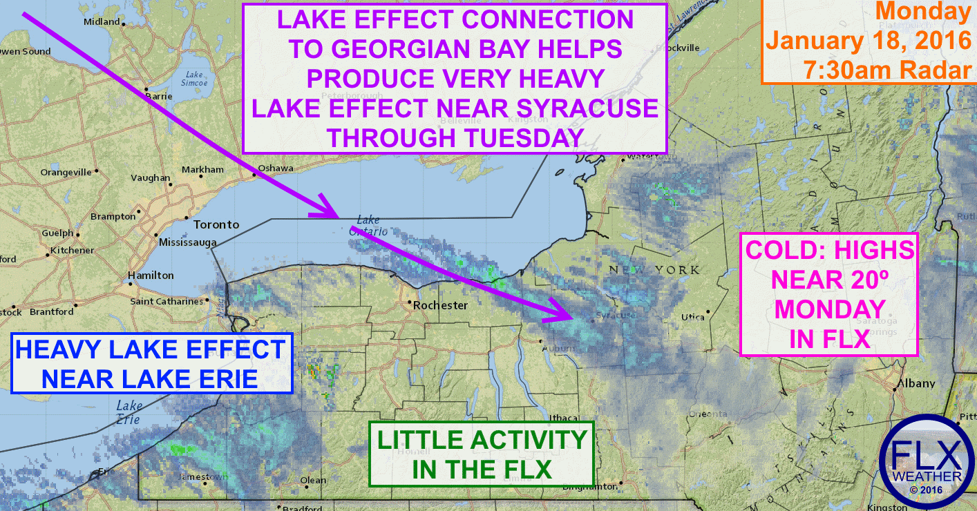Lake effect snow will persist southeast of the Great Lakes through Tuesday.