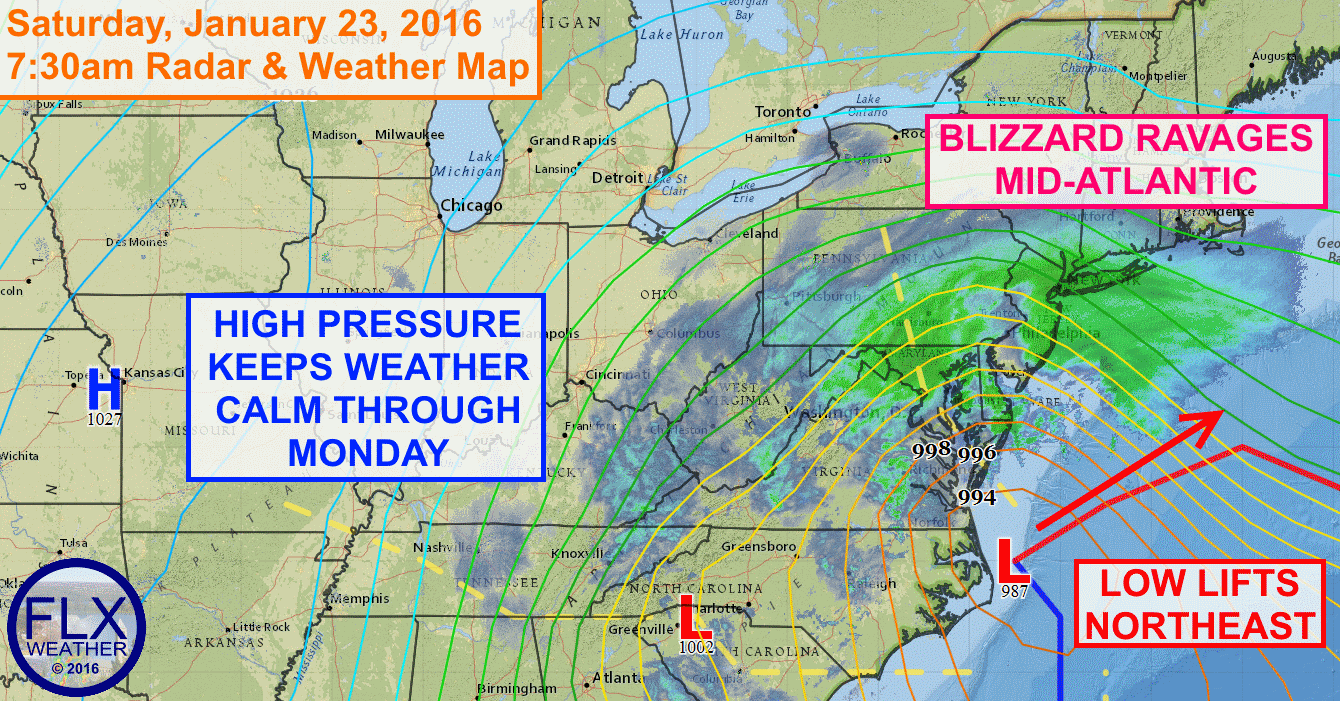 The Blizzard of 2016 continues Saturday morning from Washington DC into New York City and Long Island.