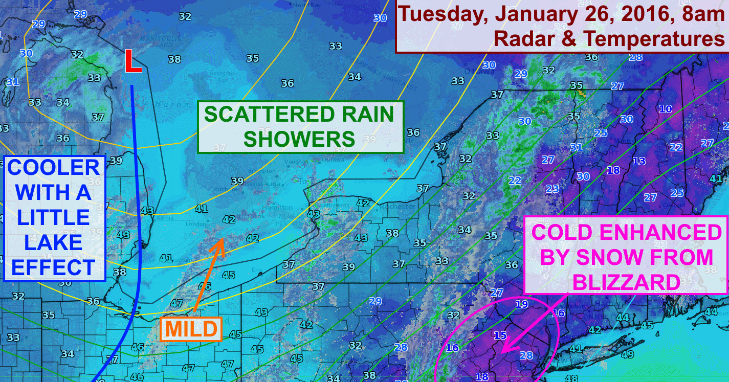 A push of mild air and some rain showers will move into the Finger Lakes on Tuesday.