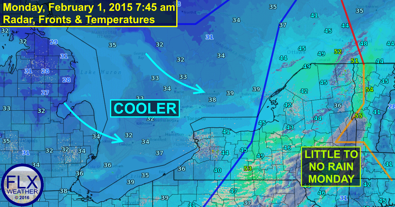 A cold front moving through the Finger Lakes Monday morning will usher in cooler temperatures.