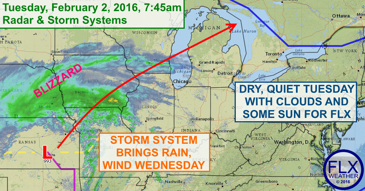 The weather will be quiet on Tuesday, but gusty winds and rain are on the way for Wednesday.