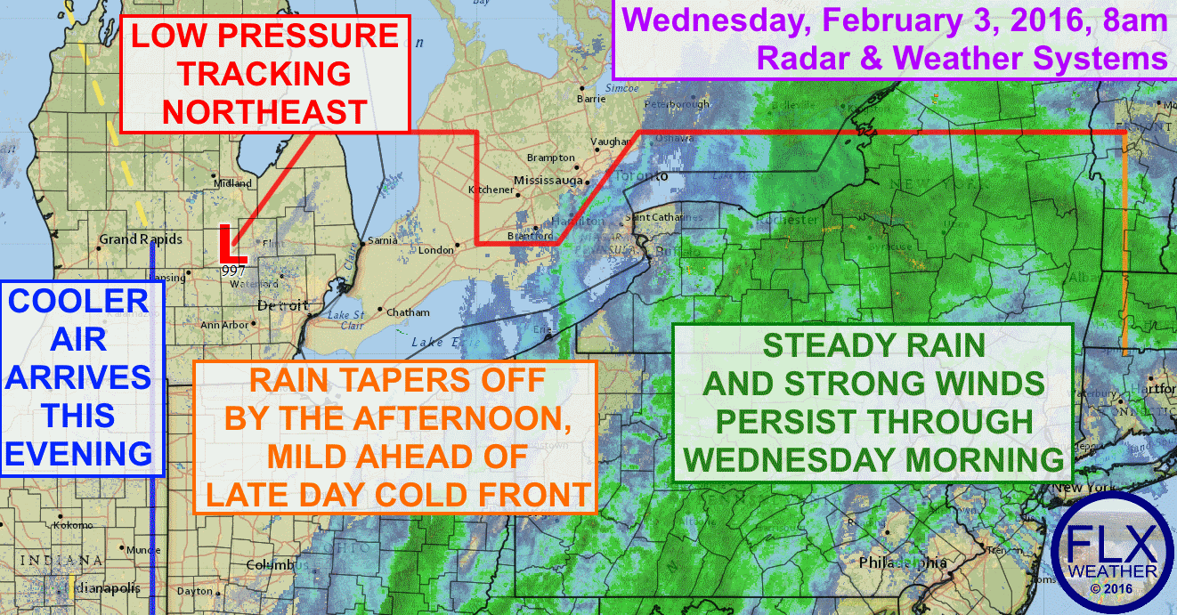 Widespread moderate rain and strong winds will persist through the morning hours before letting up for the afternoon.