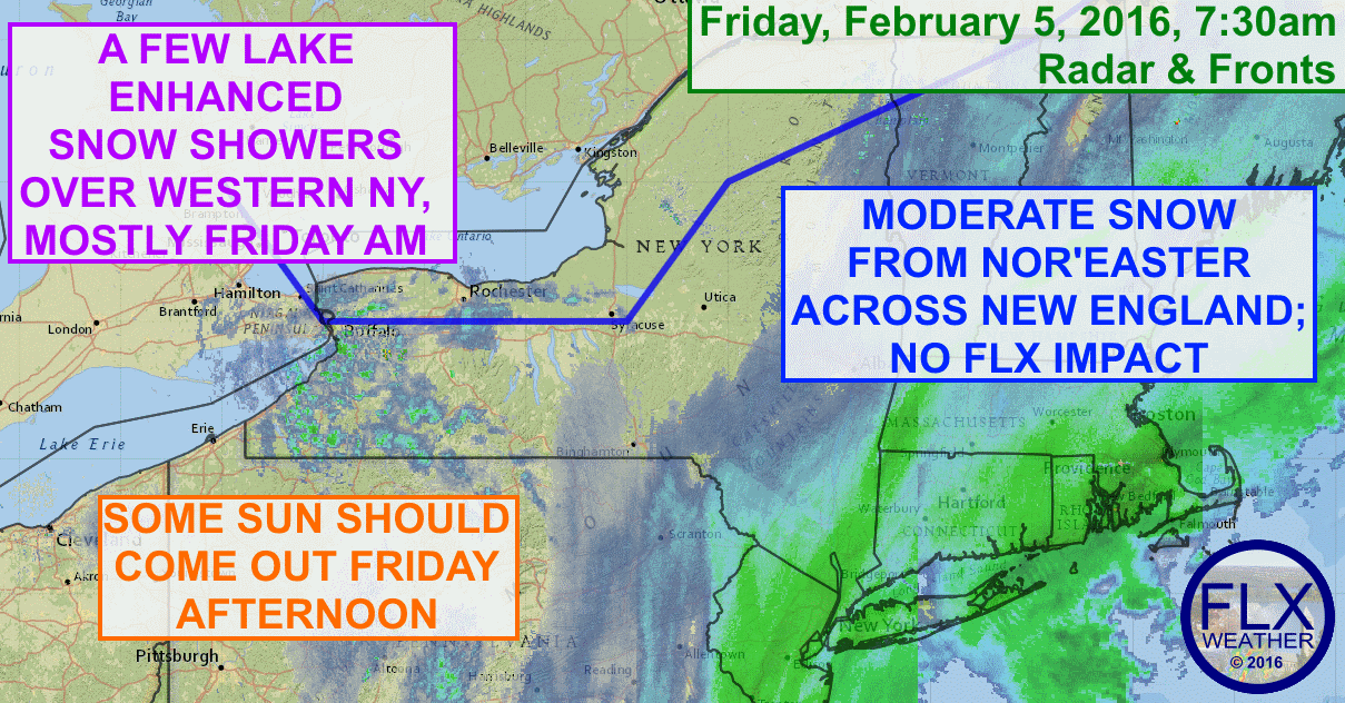 The Finger Lakes will remain mostly dry on Friday, even as a nor'easter brings snow to areas just to the east and lake snows fall across western NY.