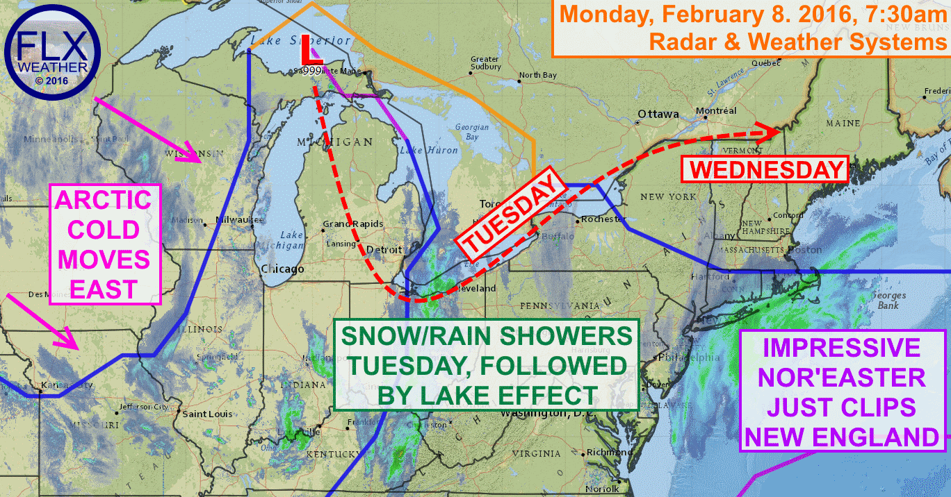 Low pressure will meander across the Great Lakes over the next few days, leaving a return to winter in its wake.