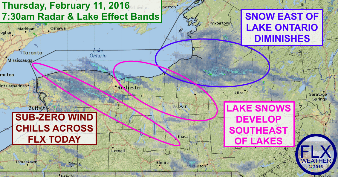 Lake effect snows will move south into the Finger Lakes, accompanied by gusty winds and sub-zero wind chills.